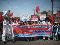 Mr. Anjum bei der Demonstration am World Labor Day 2012